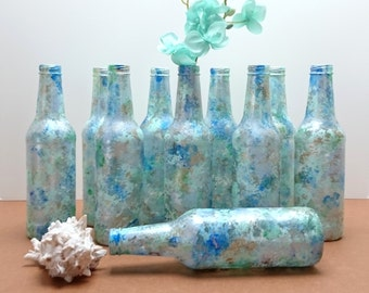 Upcycled Bottles Set of 10, Bottle Lot, Decorative Bottles, Water Theme, Blues & Greens, Sea Glass Bottle Vases, Wedding Decor, Party Décor