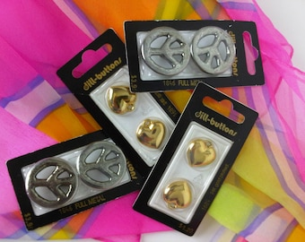 Peace and Love Buttons and Charms - Full Metal Peace Buttons and 24K Gold Plated Love Heart Buttons Charms Lot of 8