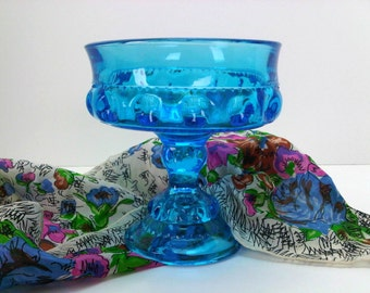 Indiana Glass Kings Crown Thumbprint Compote Beautiful Colonial Blue Candy Nut Potpourri Berry Dish Pedestal Bowl Candleholder Home Decor