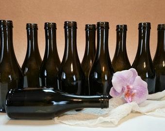 Mini Dark Olive Bottle Collection, Bottle Set of 10, Olive Bottles, Green Bottles, Bottle Vases, Wedding Décor, Bottles for Centerpieces