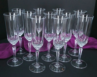 Vintage Lead Crystal Champagne Flutes, Tall Champagne Flutes, Large Lot of 11, Celebration Glasses, Wedding Stemware, Set of Toasting Flutes