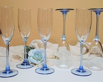 Cristal D'Arques Durand Luminarc France, Light Blue Stem Champagne Glasses, Light Blue Champagne Flutes, Set of 6, Blue Wedding Stemware