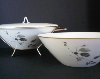 Rosenthal Continental Japanese Quince Gold Trim 2 Vegetable Bowls, Lid and Stand 1950s Mid Century Dinning Collectable China Made in Germany