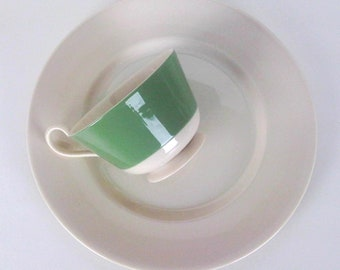 Vintage Green Banded & Sandstone Cups with Plates, Brunch Luncheon Snack Hostess Set, 6 Place Settings, Garden Café, Café Chic, Cottage Chic