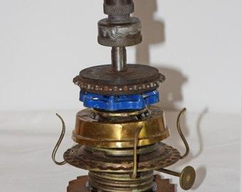 Industrial Finial Sculpture - Steam Punk Art - Spray Nozzle, Car Gears, Lamp Parts, Water Valve - Salvage
