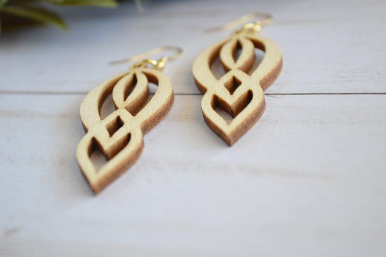 Laser cut wood essential oil diffuser earrings