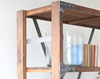 Industrial Bakers Rack/Bookshelf/wood and metal/Shelf