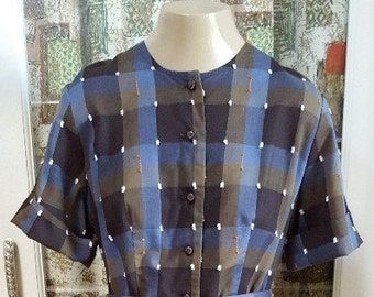 1960's Cotton dress...Plaid Blues and Brown