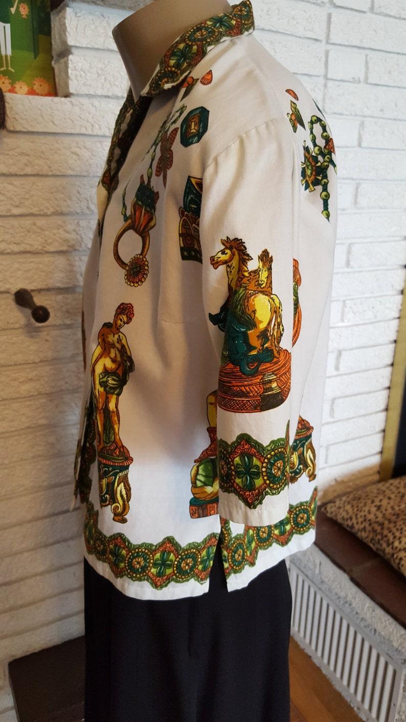SALE! 1960/'s Cotton Romanesque Blouse! Size Medium!