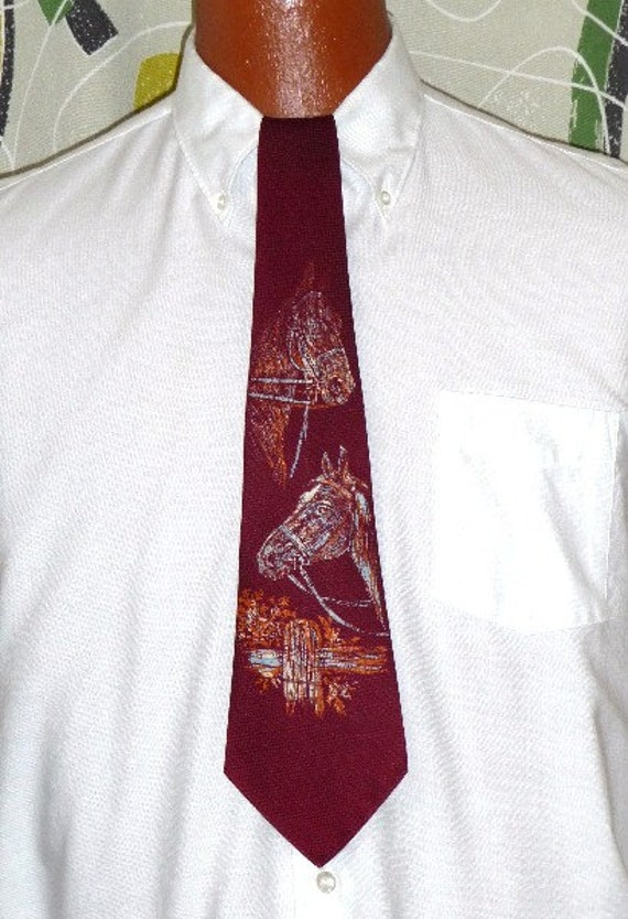 1940's Tie!! Hand Painted Horse Head!!