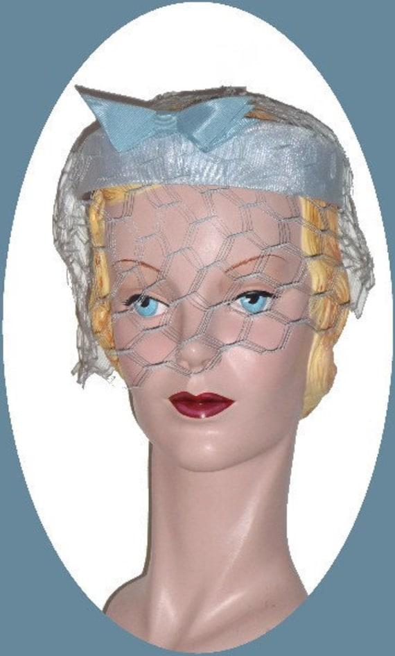 1950's Light Blue Cocktail, Formal Hat!! - image 1