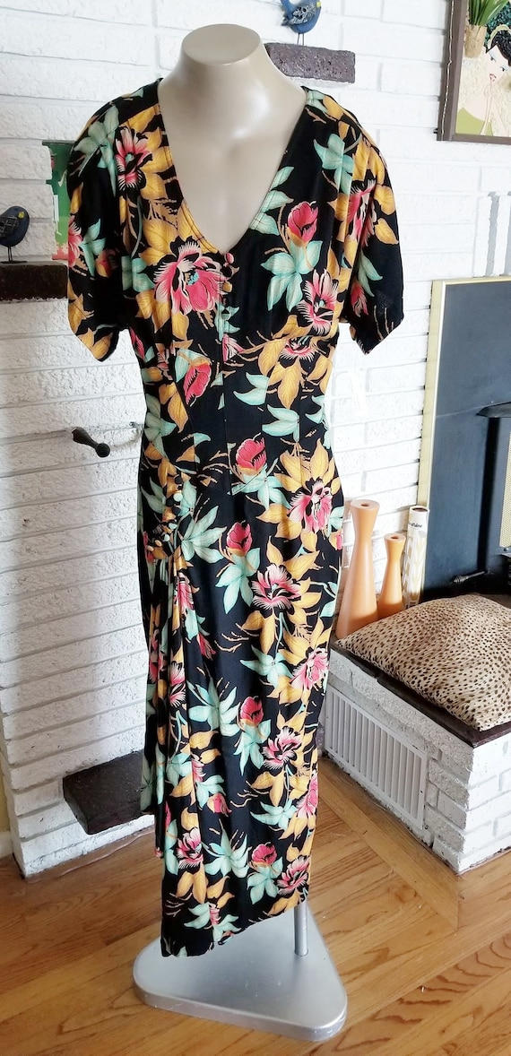 NEW!! Retro Rayon Tropical Party Gown!! size 14