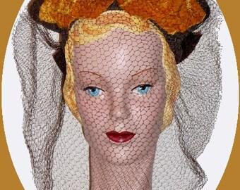 1940's Hat with Orange Velvet Leaf Detail !