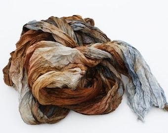 scarves, silk scarf - Simply Versailles-  brown, cognac, grey silk scarf.