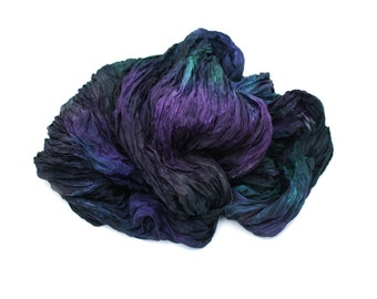 black silk scarf -  Midnight Story -  purple, green, black silk scarf.