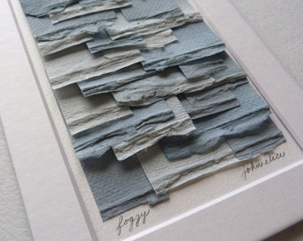 Original Paper Collage Created From Handpainted Mulberry Paper