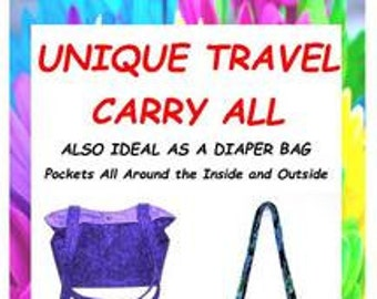 Pattern for Diaper Bag, Travel Bag Pattern, Pockets Outside, Large Tote, Fabric Purse Pattern, Pattern for Mom, Handmade Purse Pattern, Gift