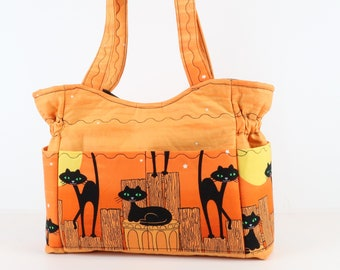 Holloween Cats Shoulder Bag Purse, Refund Shipping, Buy Any 2, Fabric Purse Bag, Tote Purse, Quilted Handbag, Purse and Bags, Bag and Purses