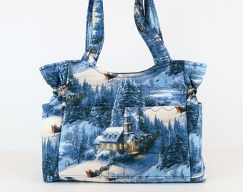 Holiday Scenic Purse, Refund Shipping, Buy Any 2, Shoulder Bag and Purse, Bag and Purse, Quilted Handbag, Purses and Bags, Mom Gift