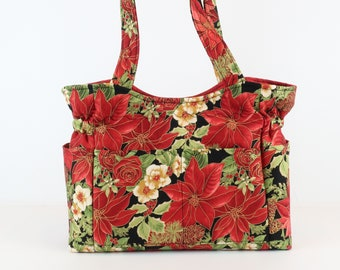 Holiday Poinsettia Purse, Free Shipping, Buy Any 2, Shoulder Bag and Purse, Bag and Purse, Quilted Handbag, Purses and Bags, Mom Gift