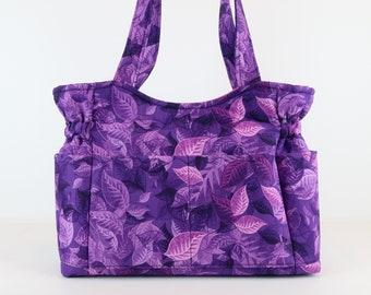 Purple Floral Shoulder Bag, Refund Shipping, Buy Any 2, Shoulder Purse, Purse and Bag, Bag and Purses, Fabric Handbag, Fun Bag, Mom Gift