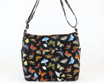 Butterfly Cross Body, Zipper Purse, Free Shipping Buy Any 2, Butterfly Shoulder Bag Purse, Quilted Handbag, Purse and Bags, Bags and Purse