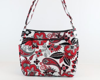 Cross Body Zipper Purse, Refund Shipping Buy Any 2, Red Black Bag, Bag and Purse, Paisley Bag, Purse Tote, Purse and Bag, Quilted Bag, Gift