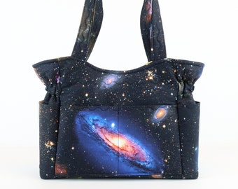 Galaxy Purse, Free Shipping, Buy Any 2, Shoulder Bag Purse, Mom Gift, Magnet Purse, Quilted Handbag, Purses and Bags, Bags and Purses