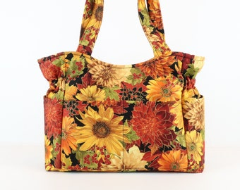 Sunflower Fall Purse, Refund Shipping, Buy Any 2, Shoulder Bag Purse, Fabric Handbag, Quilted Fabric Purse, Diaper Bag, Gift, Shoulder Bag