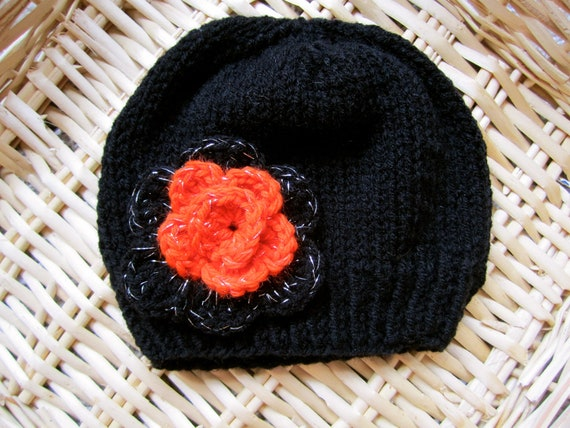 Black and Orange Beanie for Girls. Little Girl s Beanie.  1779fb03074