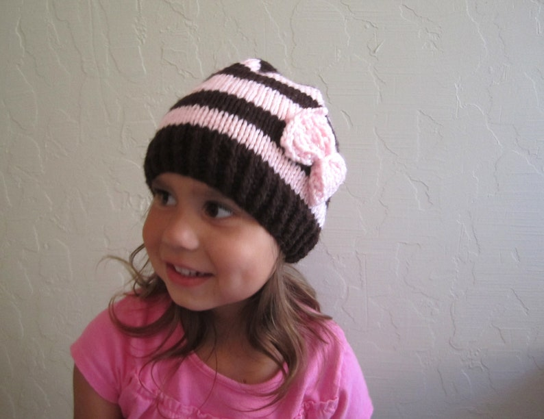 0626440208d Brown and Pink Stripes Beanie for Girls. Toddler Beanies. Pink