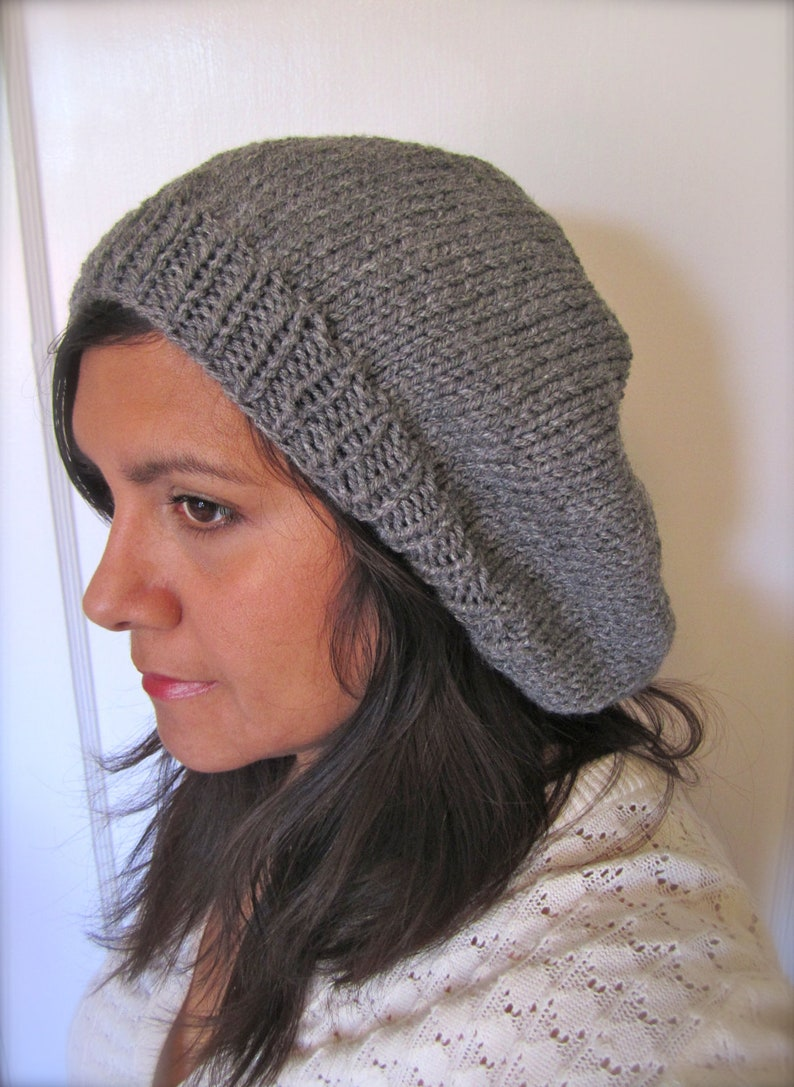 29f0f65292d Grey or Cranberry Hand Knitted Slouch Beanie for Women or Men.