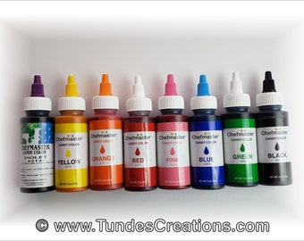 Chefmaster Candy Colors, Chocolate Colors, Set of 8 colors, 2 oz bottles