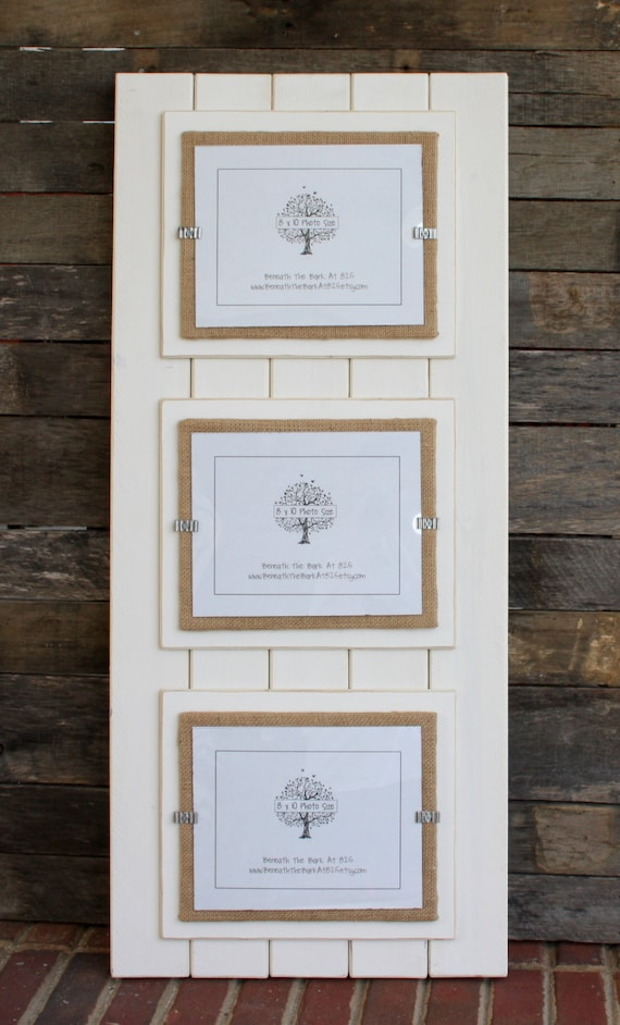 Distressed wood picture frame triple double mat holds 3 photos 8x10 collage frame