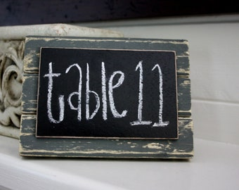 Chalkboard Place Card - Table Marker - Large - Distressed Wood - Gray