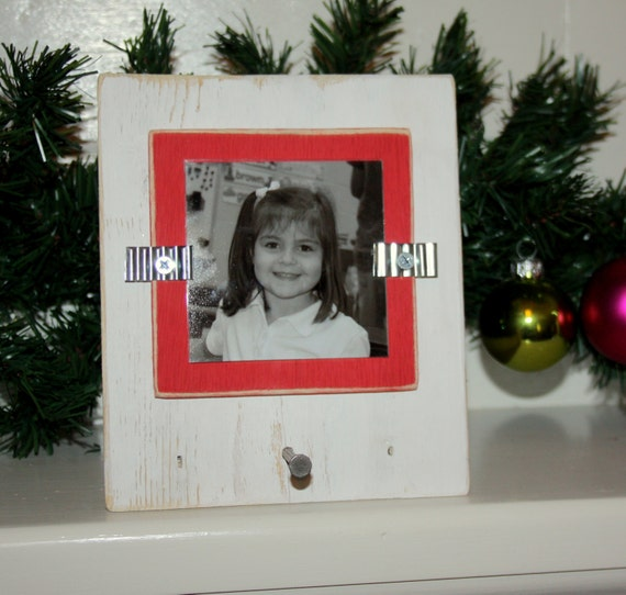 Christmas Stocking Holder With Picture Frame Distressed Wood Etsy