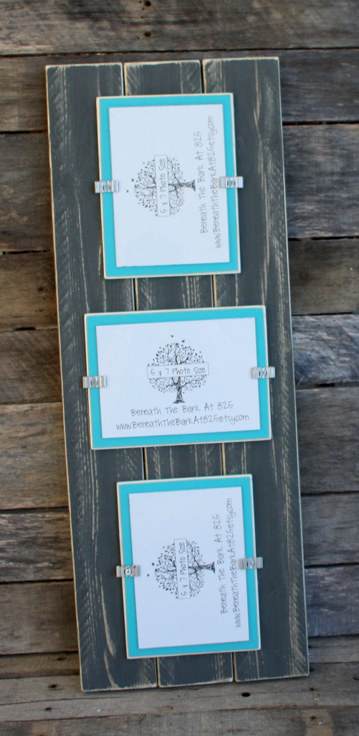 Picture Frame Triple 5x7 Distressed Wood Holds 3 5x7 Etsy