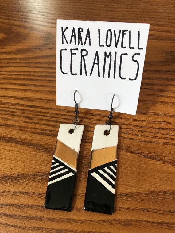 Black, white and gold ceramic earrings