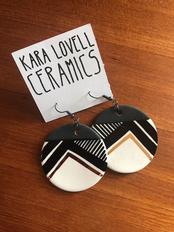 Round ceramic earrings #1