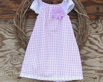 Girls Purple Dress, Girls Dress, Purple Summer Dress, Girls Gingham Dress