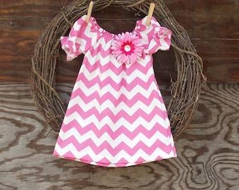 Girls Pink Easter Dress, girls peasant dress,  Monogrammed dress, Pink Chevron Dress