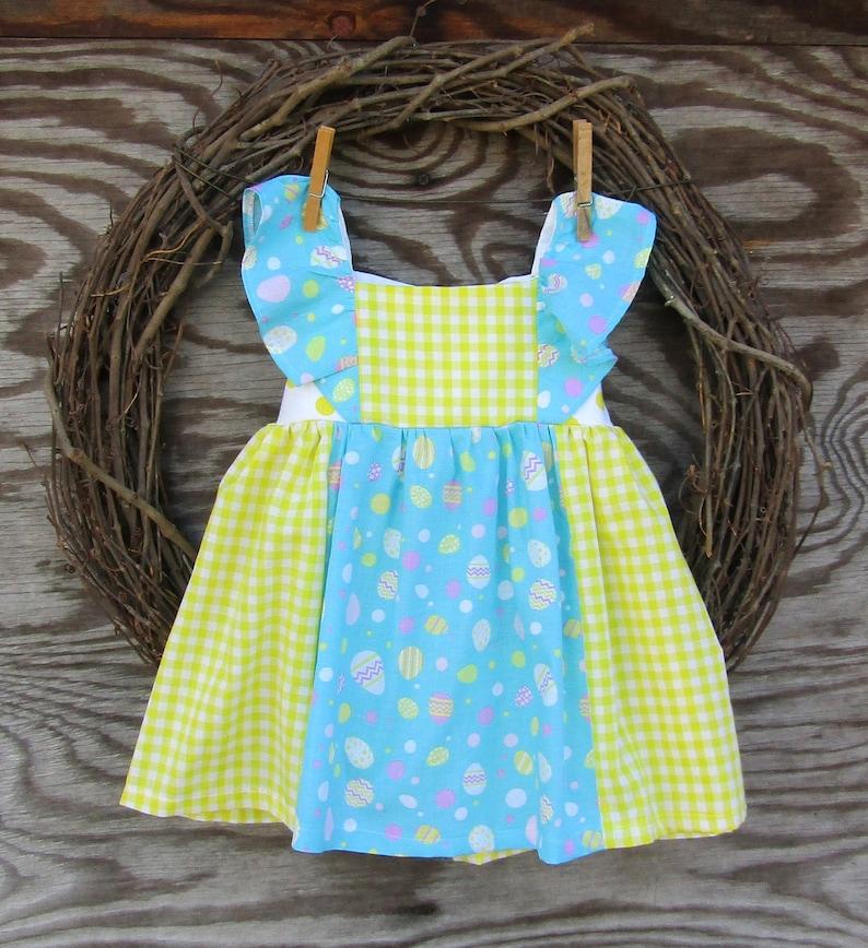 5bf079142 Girls Yellow Gingham Easter Dress Easter Egg Dress | Etsy