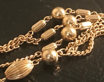 Signed Sarah Coventry Gold Bead Lariat Tassel Necklace 1970s Jewelry
