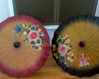Sale Art Deco Japanese Bamboo Wood and Oil Paper Umbrella with Hand Painted Floral and Butterfly