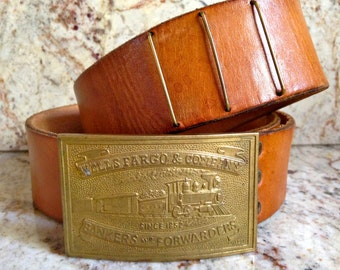 Sale Vintage Belt, Well Fargo & Company Bankers and Forwarders Solid Brass Buckle/ Western Leather Belt -Train- Railroad