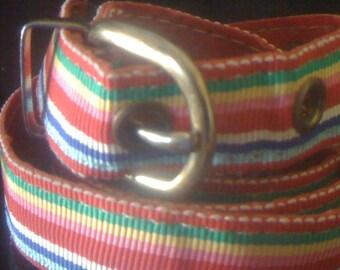 Now On Sale Vintage 60s Mod Skinny Rainbow Ribbon Belt with Brass Buckle Size M/L Adjustable
