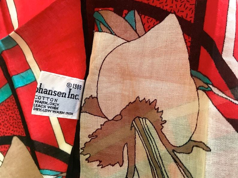 Ladies Floral Cotton Square Pocket Mini Scarf NOS Rare Vintage 1980s Signed Ginnie Johansen Printed Handkerchief