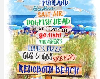 Rehoboth Beach Delaware Directional Sign by Rehoboth Beach Artist Susan Thornberg
