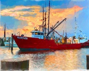 LBI, Long Beach Island, Viking Ship, Fishing Ship, Coastal Art, Jersey Shore, New Jersey Art by Susan Thornberg