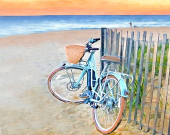 Beach Cruiser Rehoboth Beach, Delaware Artist Susan Thornberg Beach Art, Coastal Art, Lewes, Bethany Beach, Ocean City, LBI, Susan Thornberg